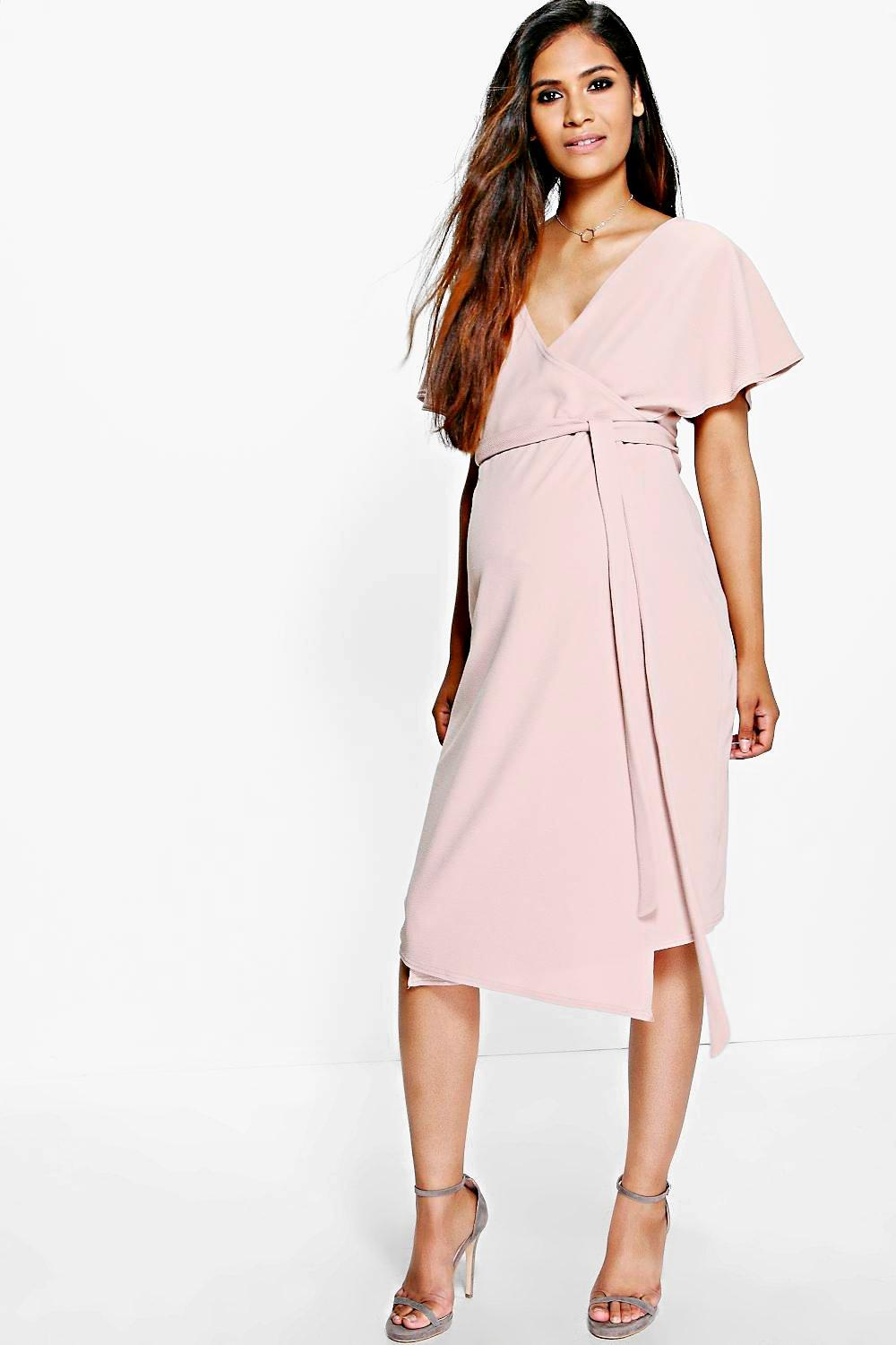 Maternity Katy Crepe Wrap Midi Dress