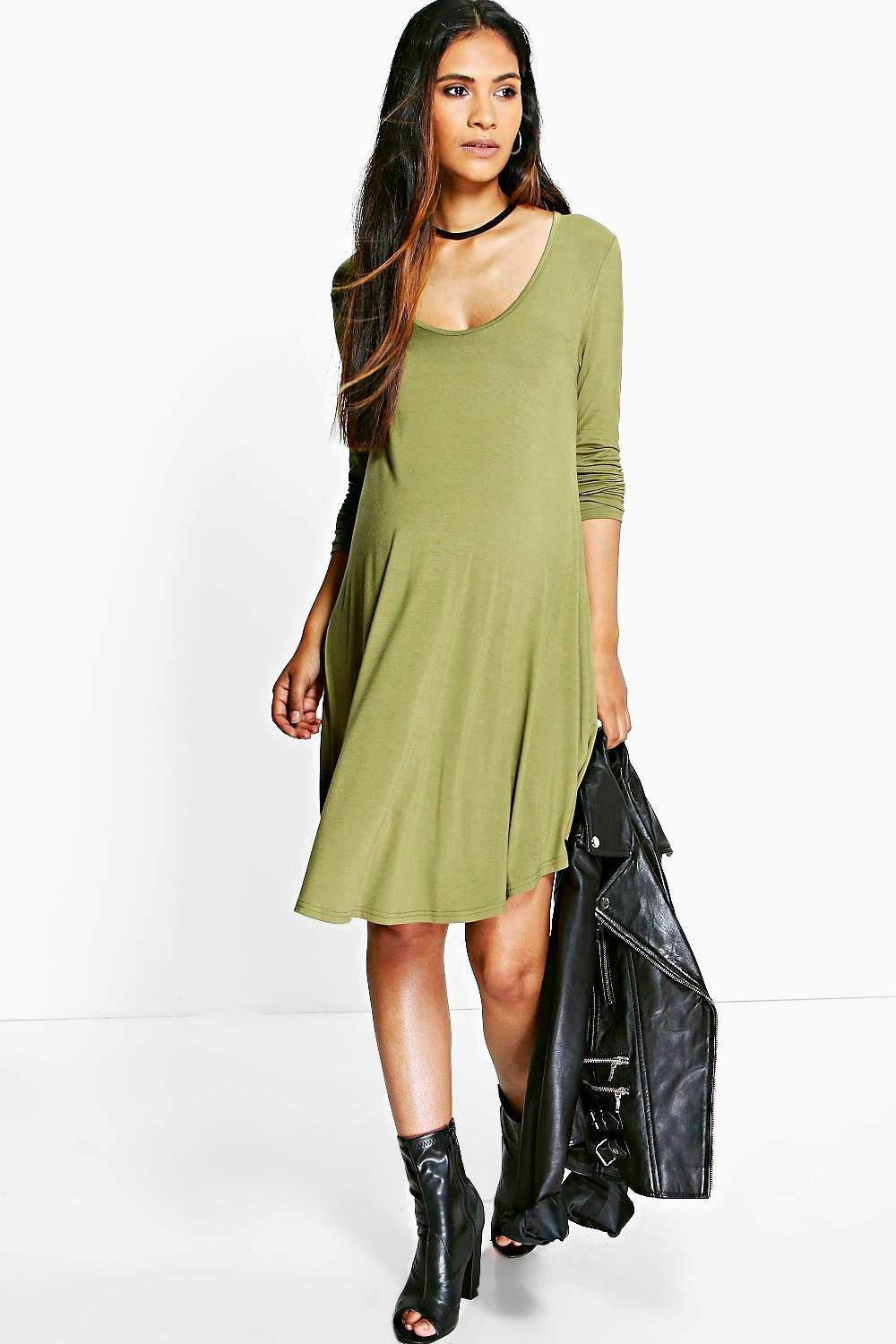Maternity Rosie Long Sleeve V-Neck Swing Dress