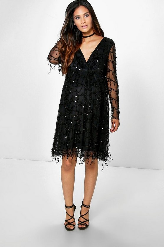 Maternity Kady Sequin Wrap Over Skater Dress