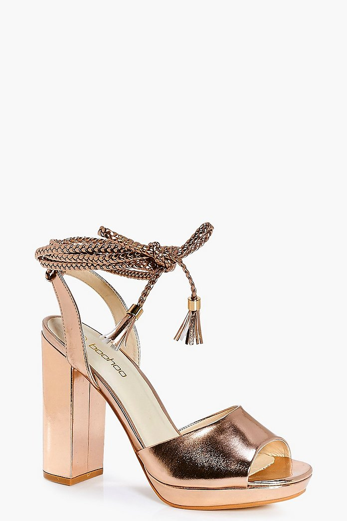 Robyn Metallic Plaited Wrap Strap Platform