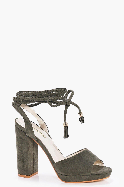 Beatrice Plaited Wrap Strap Platform Heels