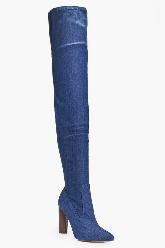Abigail Denim Thigh High Boot