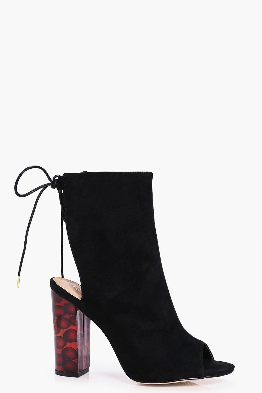 Tortoiseshell Peeptoe Shoe Boot black