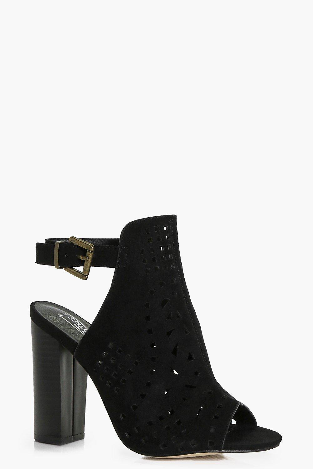 Peeptoe Laser Cut Shoe Boot black