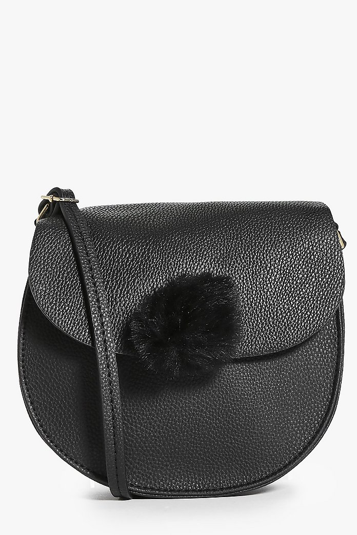 Ivy Faux Fur Pom Clasp Saddle Cross Body Bag
