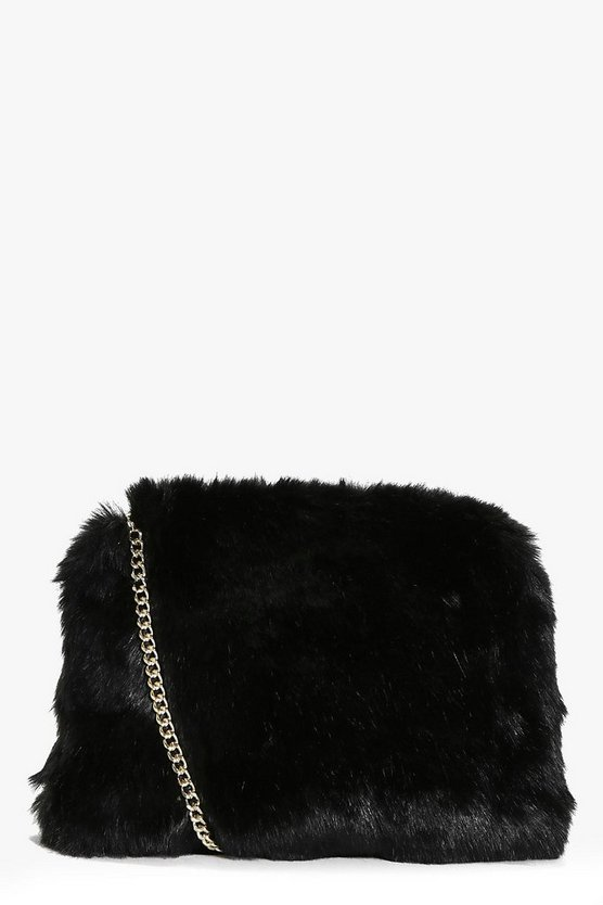 Kara Fluffy Faux Fur Cross Body Bag