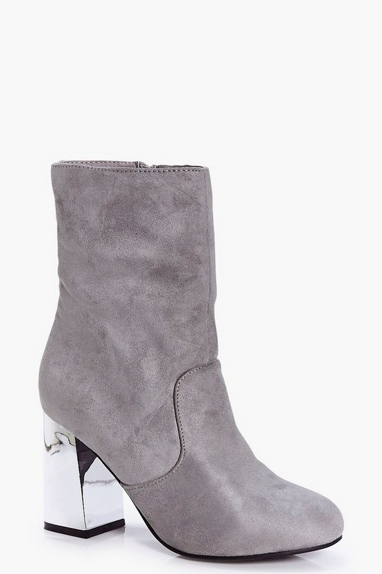 Emma Metallic Fluted Heel Sock Boot