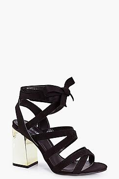 Ella Metallic Fluted Wrap Strap Heels