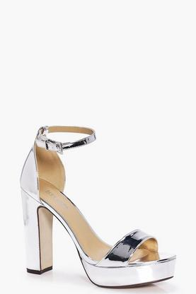 Ava Mirror Metallic Two Part Platform Heel