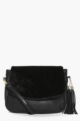 Zoe Faux Pony Fold Over Zip Tassel Day Bag