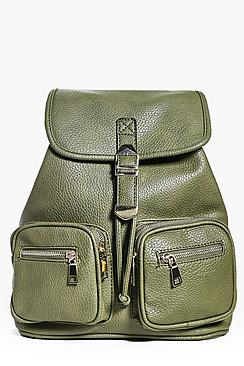 Ivy Zip Front Double Pocket Buckle Backpack