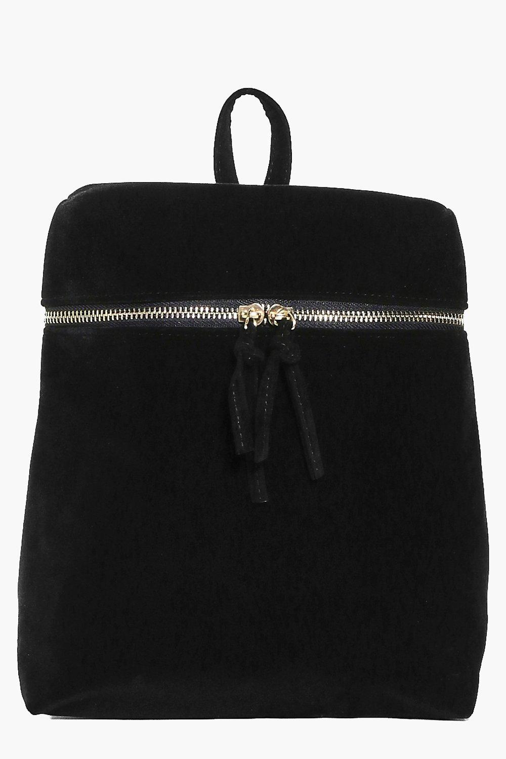 Charlotte Zip Detail Velvet Backpack