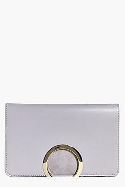 Emily Suedette Circle Cut Detail Clutch