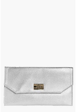 Lola Eliza Metallic Twist Lock Clutch Bag