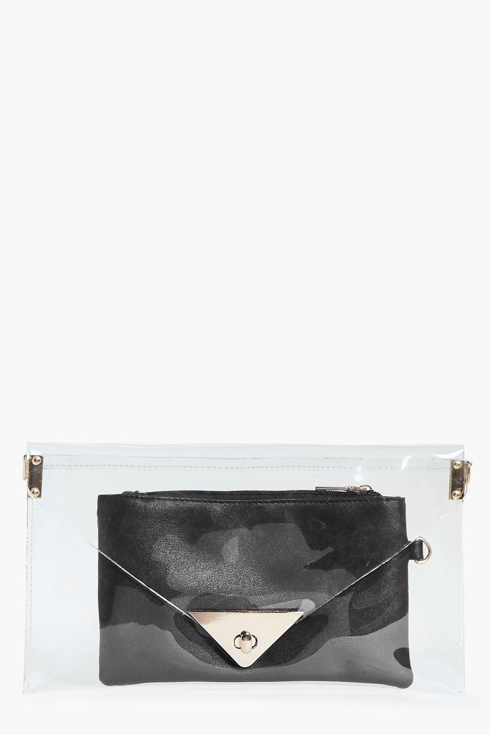 Lola Clear Clutch Bag With Purse Insert