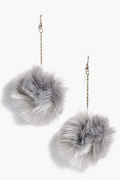 Grace Faux Fur Pom Pom Earrings