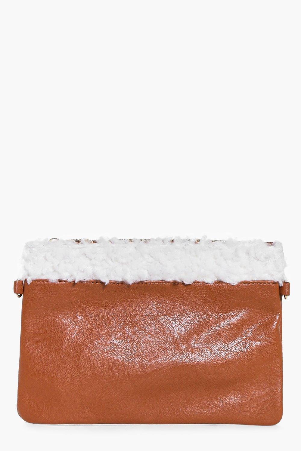 Lucy Shearling Trim Clutch Bag