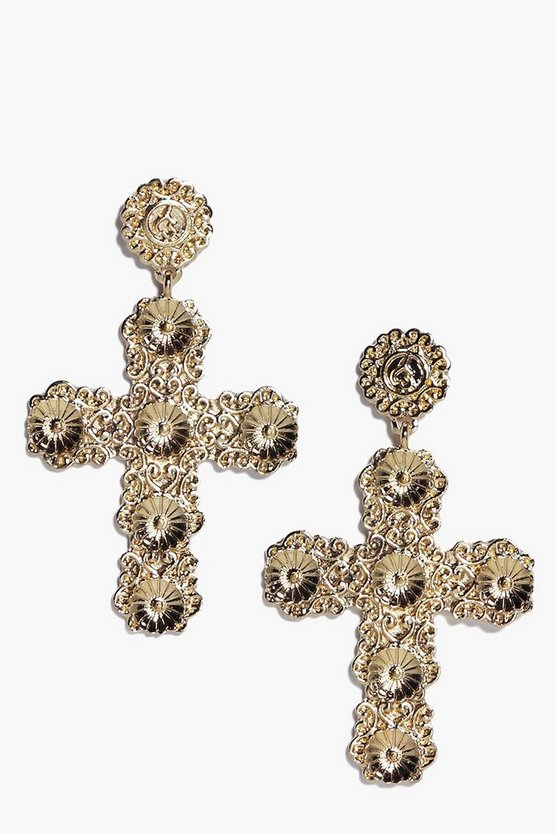 Rose Ornate Cross Earrings