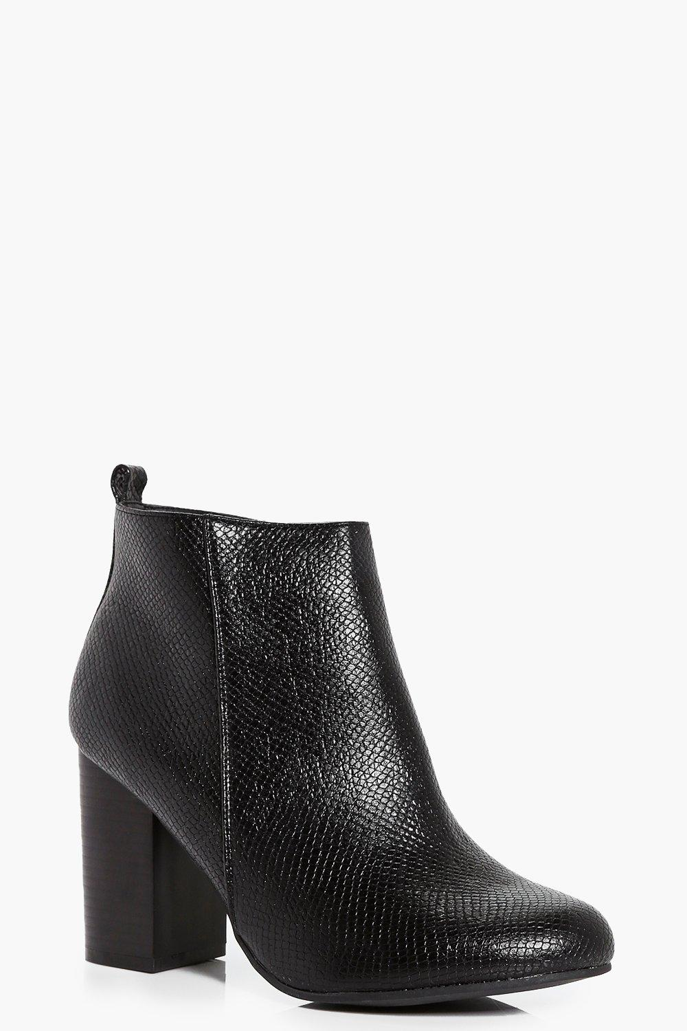 Darcy Snake Block Heel Ankle Boot