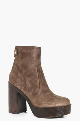 Faye Button Trim Platform Ankle Boot