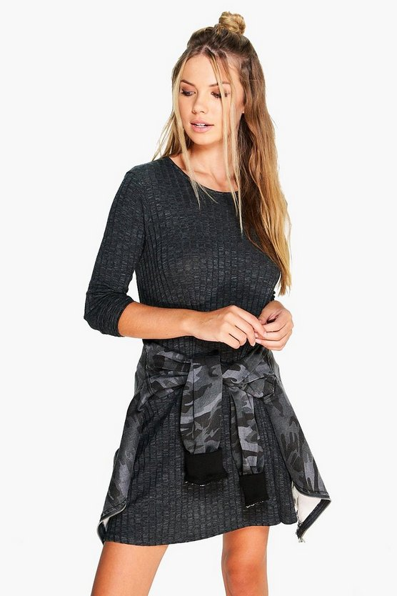 Mia Marl Rib Knit Swing Dress