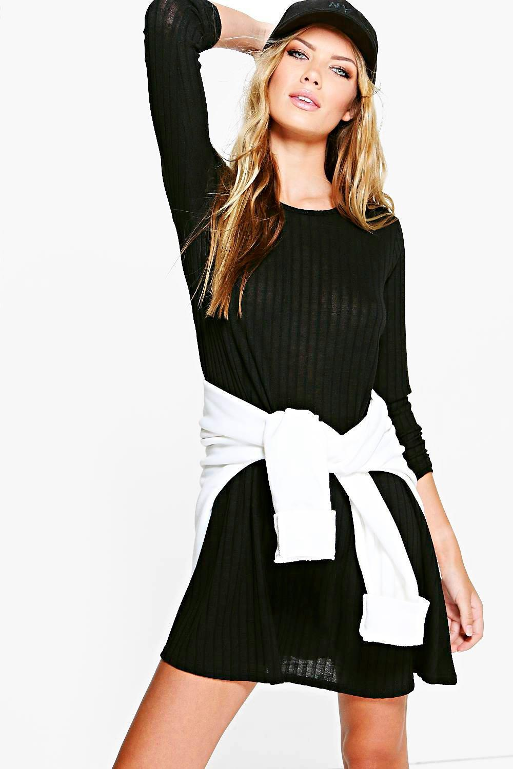 Isla Wide Rib Knit Swing Dress