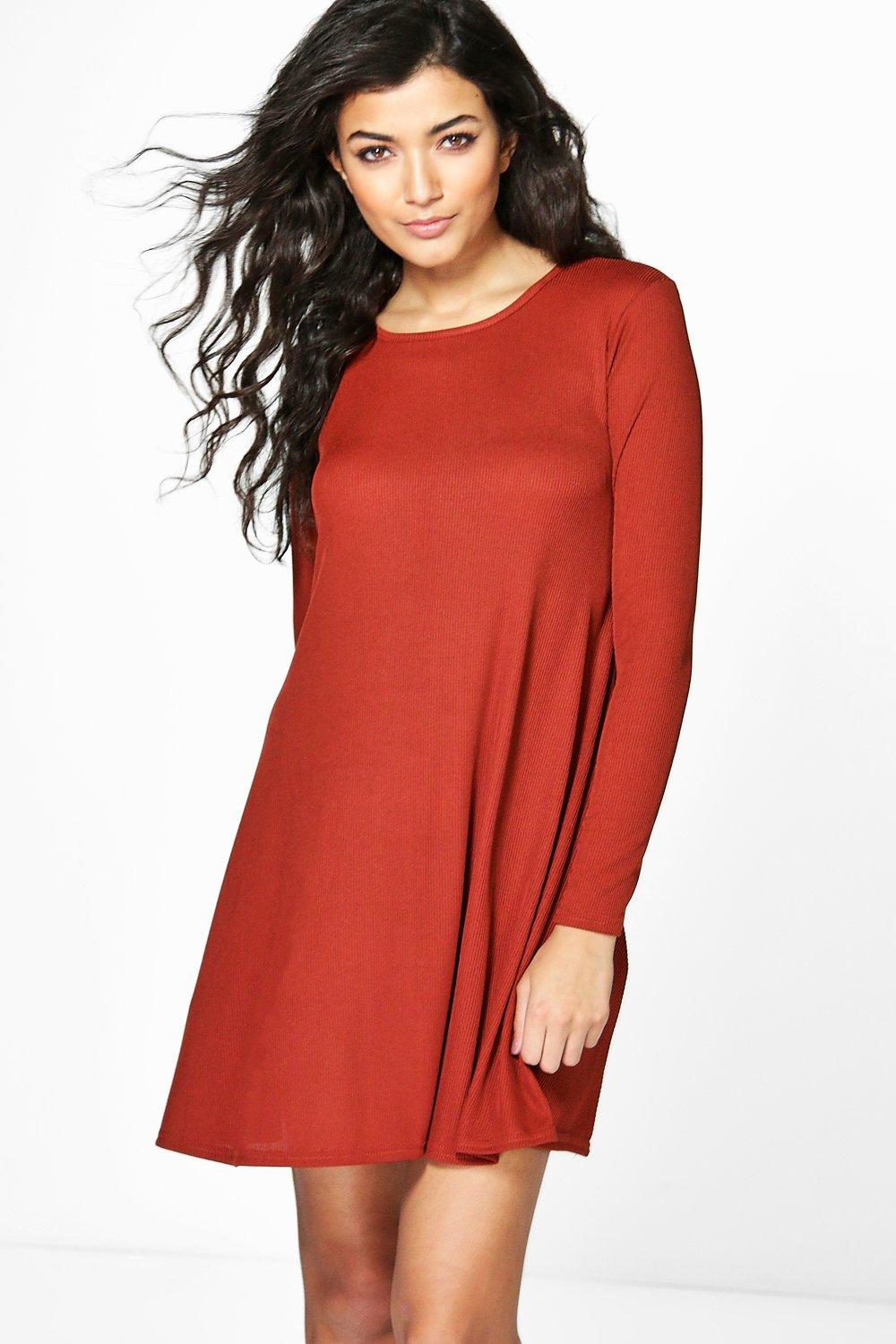 Sophia Skinny Rib Knit Swing Dress
