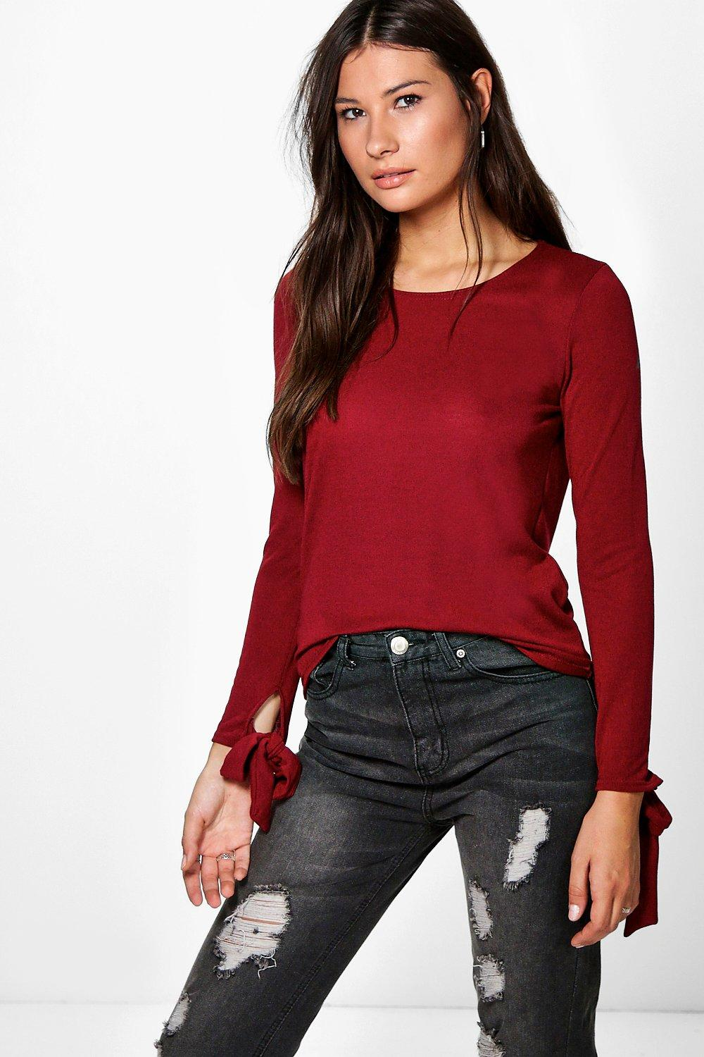Tie Sleeve Fine Knit Jumper  wine