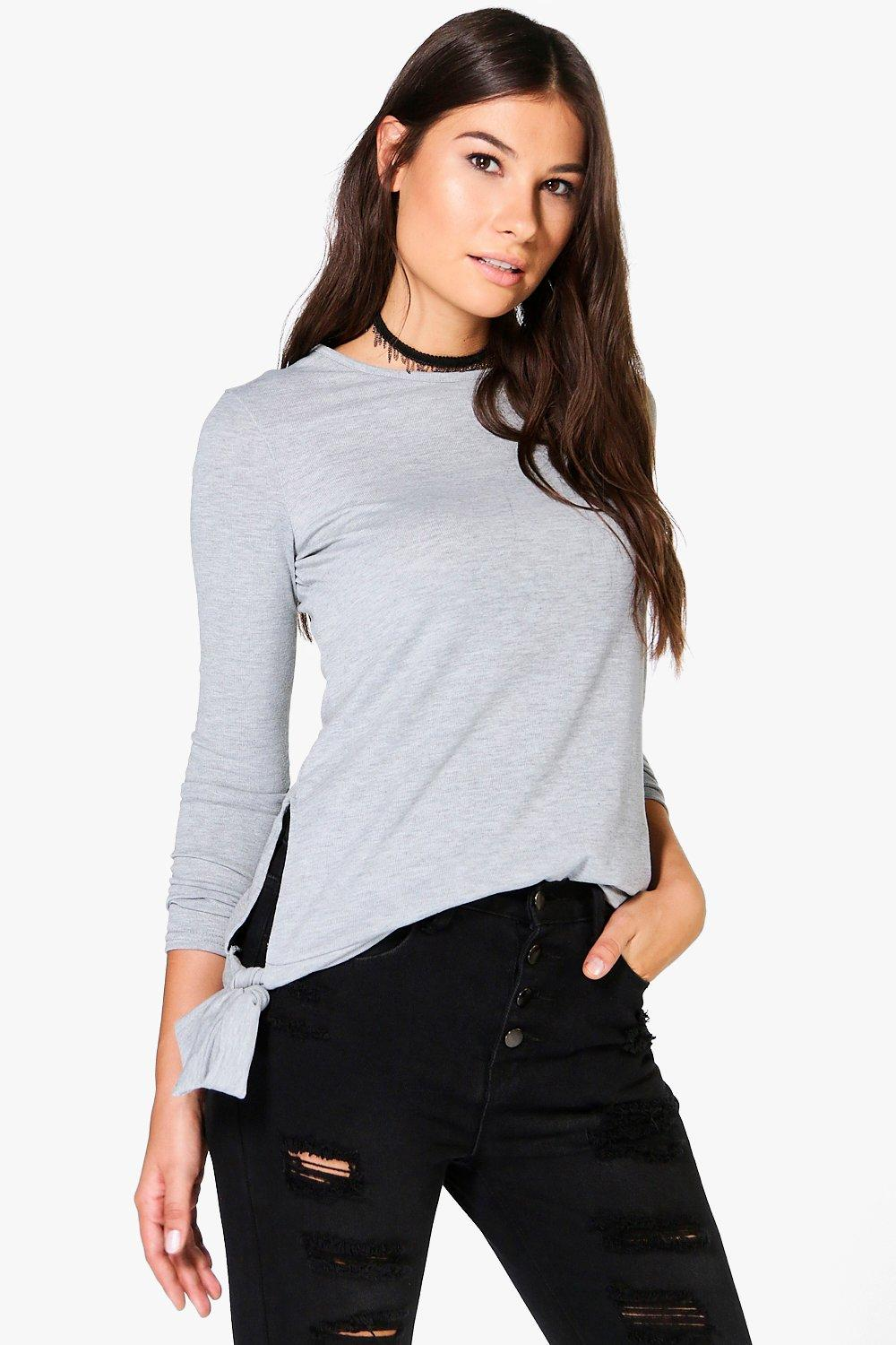 Tie Side Fine Knit Jumper  grey