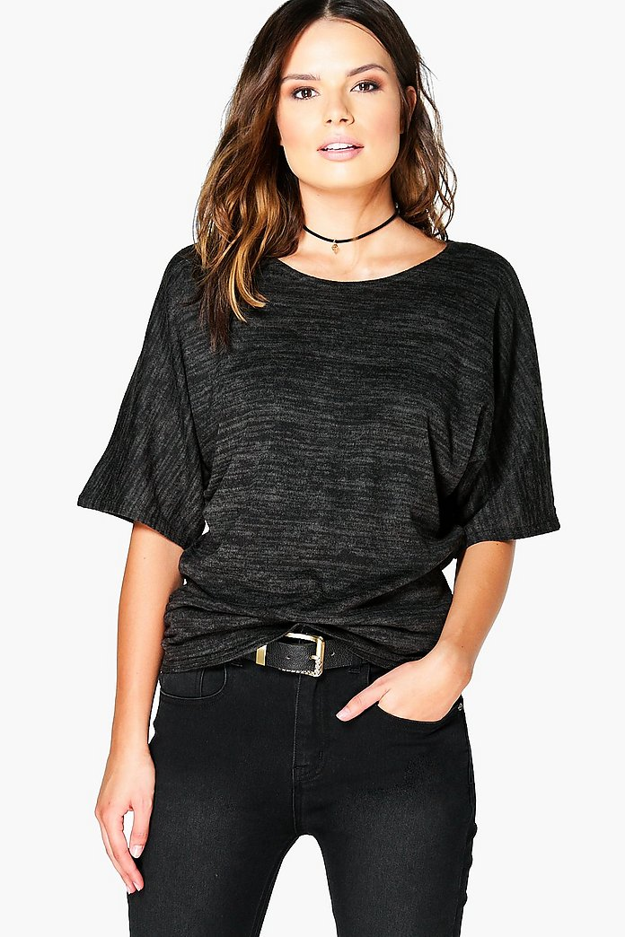 Maria Ruched Side Batwing Knit Top