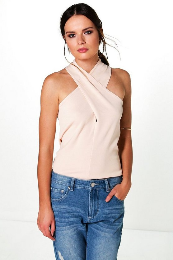 Willow Compact Rib Wrap Front Halter Neck Top