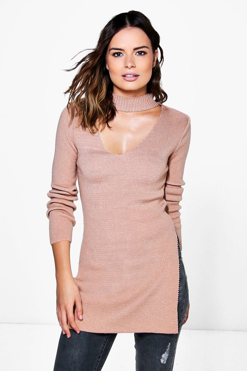 Julia Choker Detail Split Side Jumper