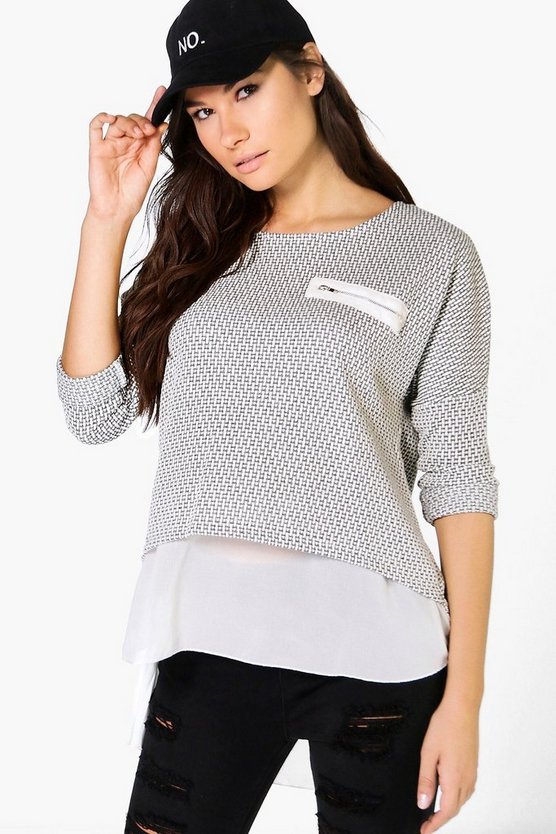 Lauren Woven Hem Zip Pocket Jumper