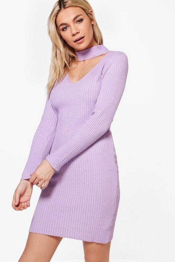 Savannah Choker Rib Knit Jumper Dress