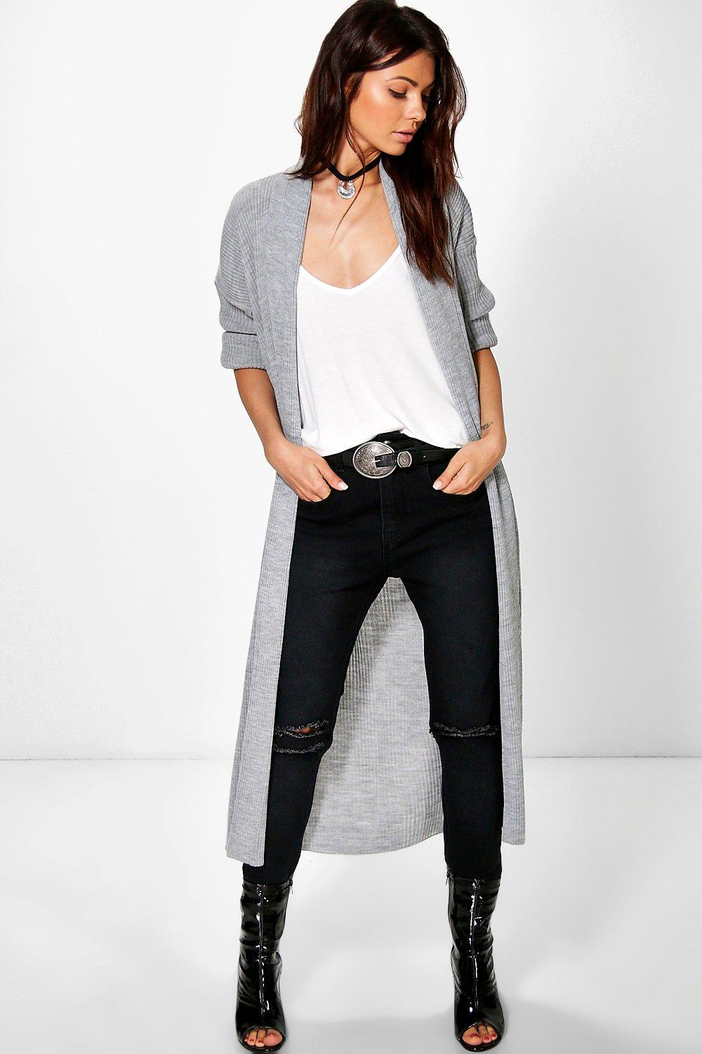 Rib Knit Shawl Collar Maxi Cardigan  grey