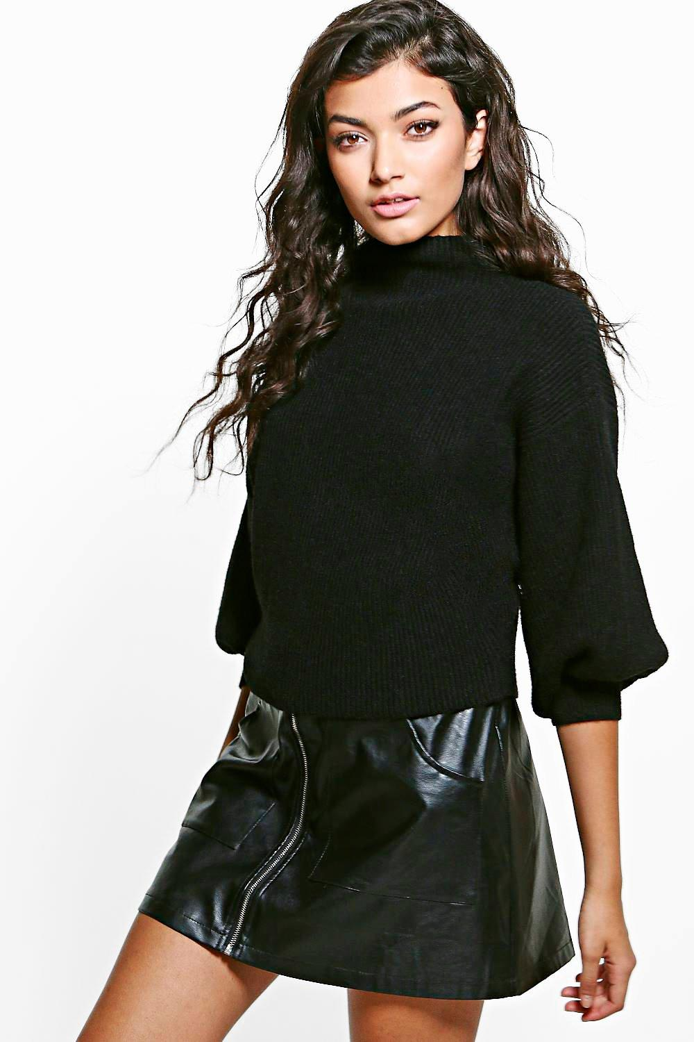 Aaliyah Funnel Neck Balloon Sleeve Rib Jumper