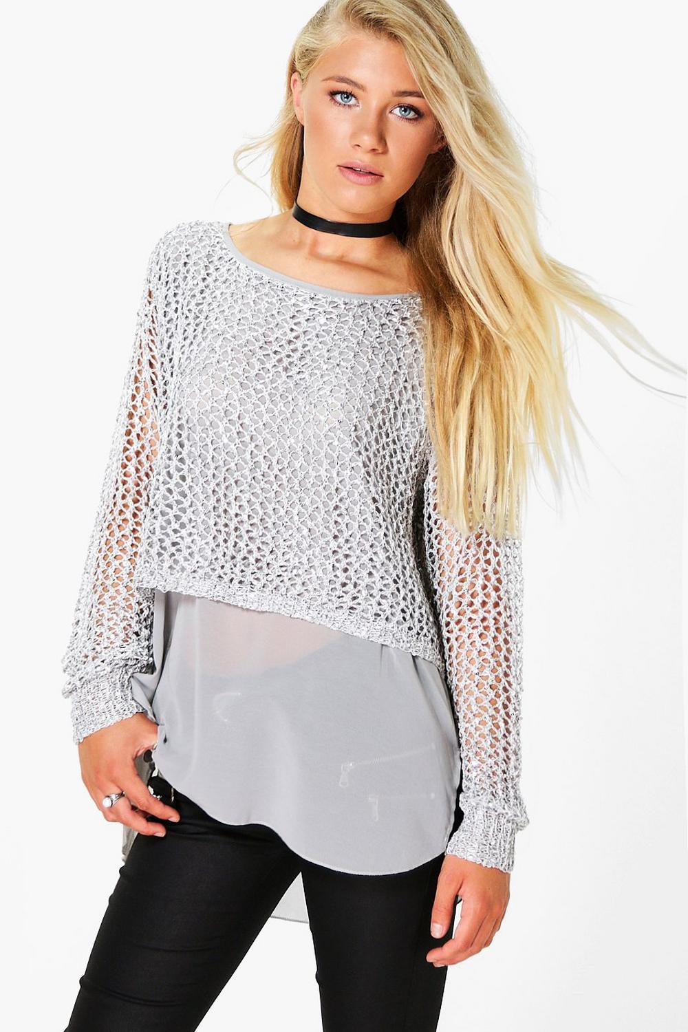 Lara Sequin Jumper With Woven Hem