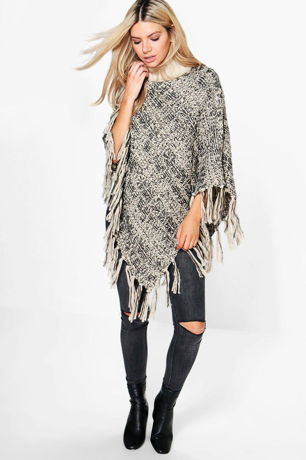 Maisie Cable Knit Fringe Poncho