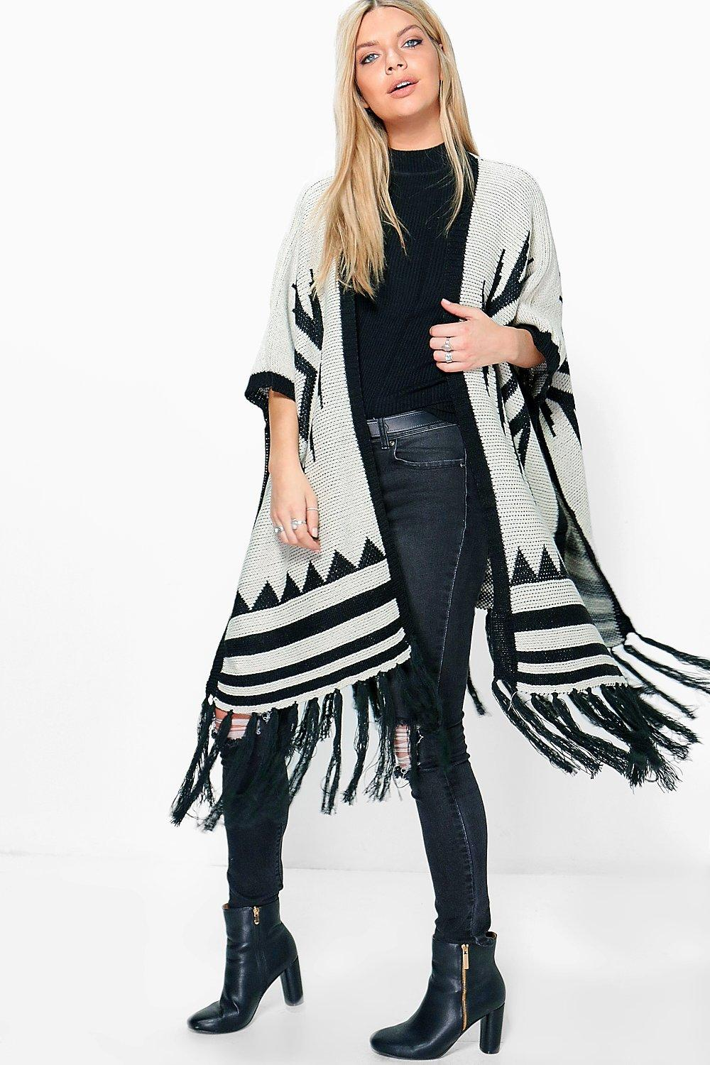 Phoebe Aztec Cape With Fringe Hem