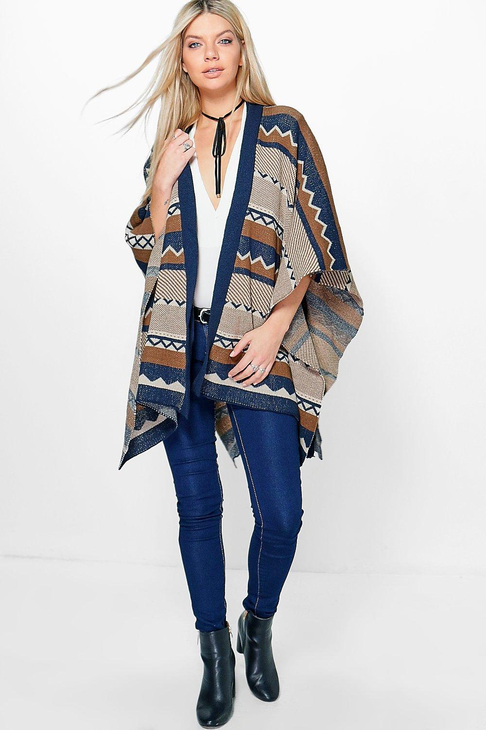 Brooke Chevron Belted Cape Cardigan