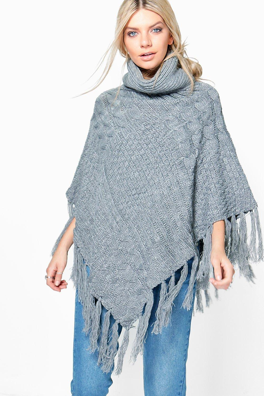 Amber Chunky Cable Knit Roll Neck Poncho