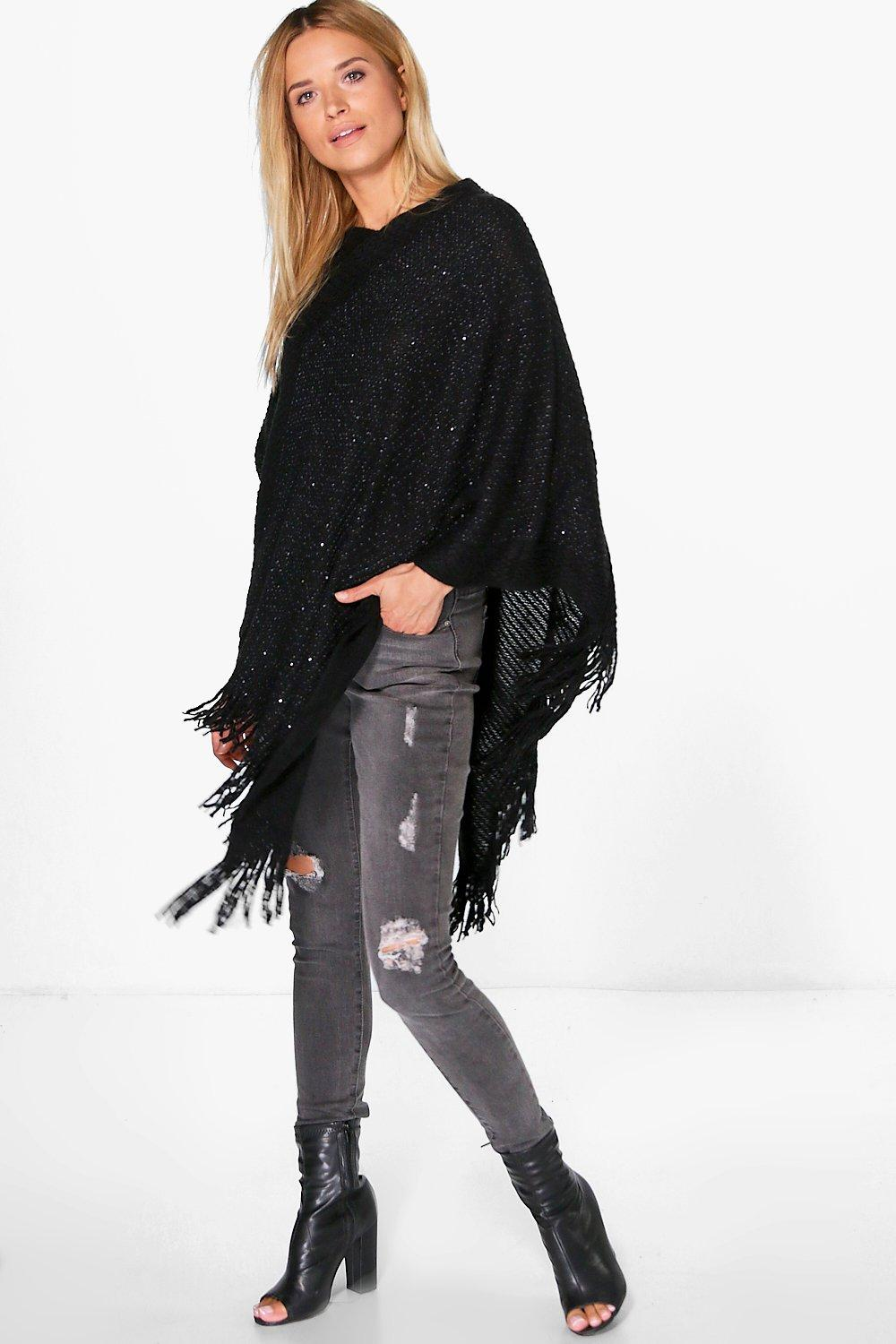 Lexi Sequin Knit Poncho