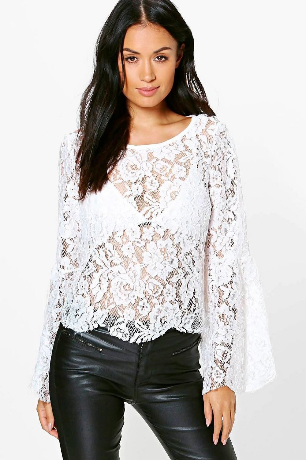 Nina All Over Lace Wide Sleeve Woven Top