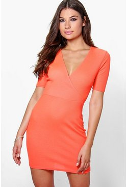 Tanya Rib Wrap Bodycon Dress