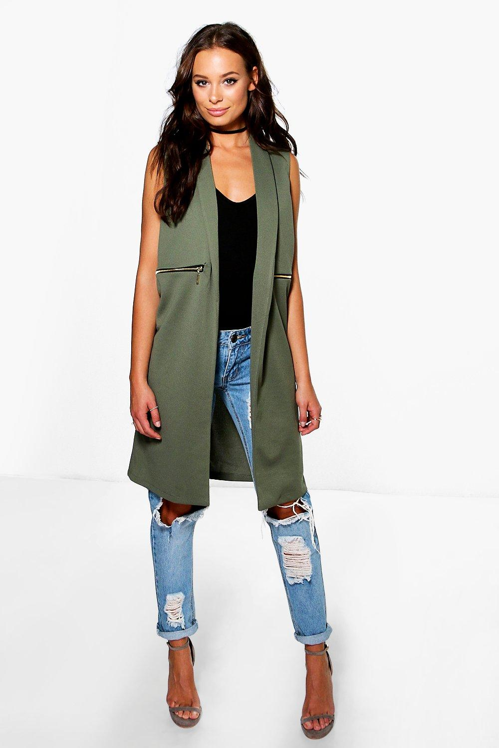Zip Detail Duster Coat khaki