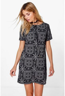 Amie Paisley 3/4 Sleeve Shift Dress