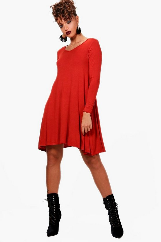 Basic V Neck Swing Dress