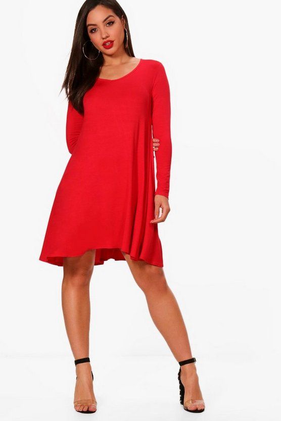 Dina Basic V Neck Swing Dress