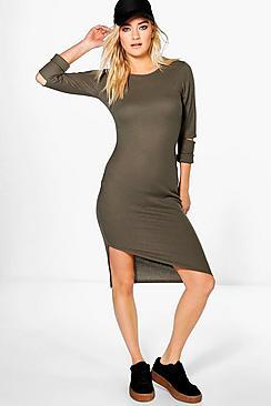 Pheobe Ribbed Asymetric Hem Midi Dress