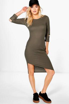 Pheobe Ribbed Asymetric Hem Midi Dress